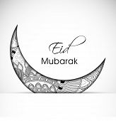 Beautiful floral design decorated crescent moon on grey background for Muslim community festival Eid