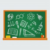 Set Of School Icons On A Blackboard