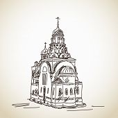 July 09, 2014 - Sketch of Russian Orthodox Church. Hand drawn illustration