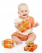 Playful baby keeps festive gift
