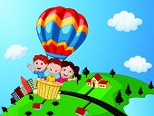 image of riding-crop  - vector illustration of Happy kids riding a hot air balloon - JPG