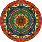 Ornamental Circle Of Small Simple Graphic Shapes. Summer Background In Ethnic Style.