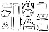 stock photo of bagpack  - Minimalist design of bags icon vector set - JPG