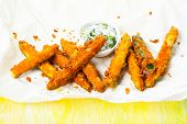 Zucchini Fries with parmesan and sauce