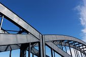 Construction Of A Railway Bridge Against Sky  Sunlight