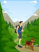 Illustration of a Man and His Pet Dog Following a Hiking Trail
