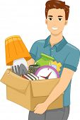 Illustration of a Guy Carrying a Box Full of Objects
