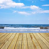 Wooden Deck Floor And Sea