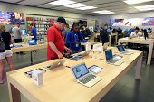 LAS VEGAS, NEVADA - FRI. JUNE 27, 2014:  People  shop at an Apple Computers retails store in Las Veg