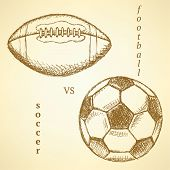 Sketch Soccer Versus American Football Ball