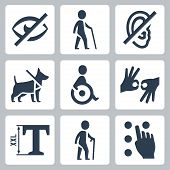 picture of braille  - Disabled releated vector icons set over white - JPG