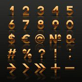 Set of decorative golden numbers and symbols