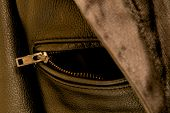 Black Leather Jacket Pocket Zipper