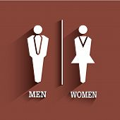 Wc Sign Icon. Toilet Symbol. Male And Female With Long Shadow.vector