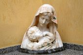 PORTOFERRAIO, ELBA, ITALY - MAY 03, 2014: The statue of Madonna with the Child in front of the Churc