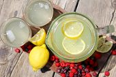 Fresh Lemonade And Fruit Framing Rustic Wood Background