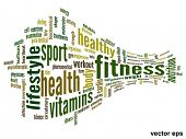 Vector eps concept or conceptual 3D abstract fitness and health word cloud or wordcloud on white bac