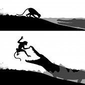 Editable vector silhouettes of a crocodile hunting a thirsty monkey