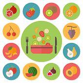 Fruit vector icons, food set for cooking, restaurant, menu, vegetables and vegetarian food. Flat des