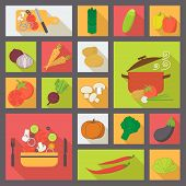 Vegetable vector icons, food set for cooking, restaurant, menu, vegetables and vegetarian food. Flat