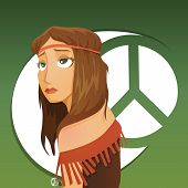 stock photo of hippy  - Beautiful girl of hippie with hippie symbol on background - JPG