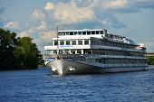 MOSCOW, RUSSIA - JULY 4, 2014: River cruise ship of the Mosturflot on the Moscow canal. Mosturflot o
