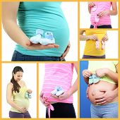 Collage of photos with pregnant girls