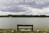 picture of tatas  - view of a bench next to lake at Tata Hungary - JPG