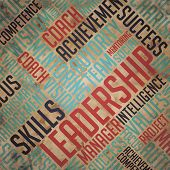 Leadership Concept - Grunge Wordcloud Background.