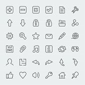36 Web Thin Line Vector Icons Set