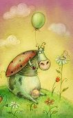 Cute cow with balloon.Vintage background.Children illustration. Cartoon childish background in vinta