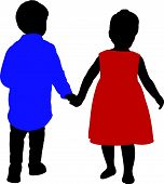a boy and a girl hand in hand