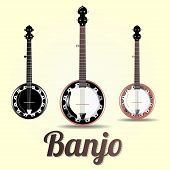 stock photo of banjo  - vector musical instrument jazz banjo three graphics options - JPG