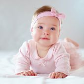Pretty Baby Girl In Pink Dress