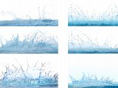 Mixed Form Of Splashing Clear And Clean  Water On White Background Use For Refreshment And Cool Back