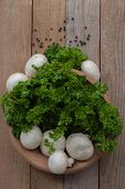 Fresh Champignons And Parsley