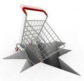 Shopping Cart Plunges Into Hole