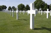 Netherlands - Margraten - Circa June 2014: Crosses On Military Graves Of Fallen U.S. Soldiers.