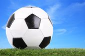 Stitch leather soccer ball on field blur blue sky.