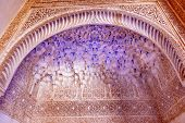 Alhambra Courtyard Arch Blue White Moorish Wall Designs Granada Andalusia Spain