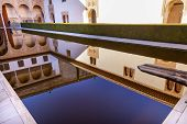 Alhambra Courtyard Myrtles Pool Reflection Granada Andalusia Spain