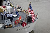 NEW YORK - MAY 22: Coast Guardsmen aboard the Famous-class cutter USCGC Campbell (WMEC 909) moored a