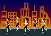 Running people silhouettes. Women running on the city street. Evening jogging. Vector illustration