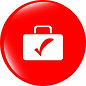 Tick Mark On Business Suitcase. Web Icon Isolated On White Background