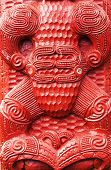 picture of maori  - Detail of an old beautiful maori carving - JPG