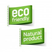 Eco friendly and Natural product labels. Vector.