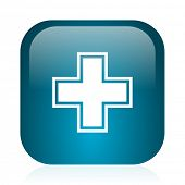 pharmacy blue glossy internet icon