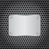metal label grid background