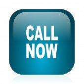 call now blue glossy internet icon