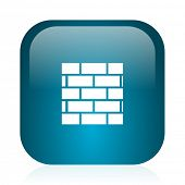 firewall blue glossy internet icon